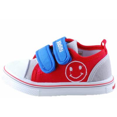 Piros-kék-szürke, mosolygós figurás, bőr betétes, Padini vászoncipő