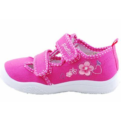 Pink-rózsaszín, virágos, bőr betétes, Padini, nyitott vászoncipő