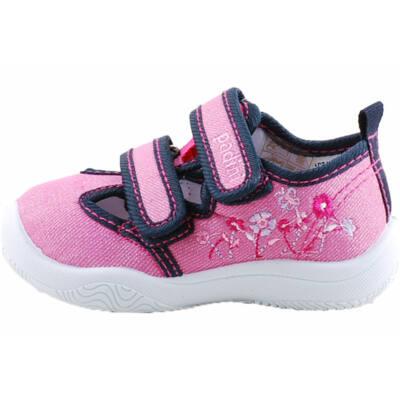 Rózsaszín, kék virágos, bőr betétes, nyitott Padini vászoncipő