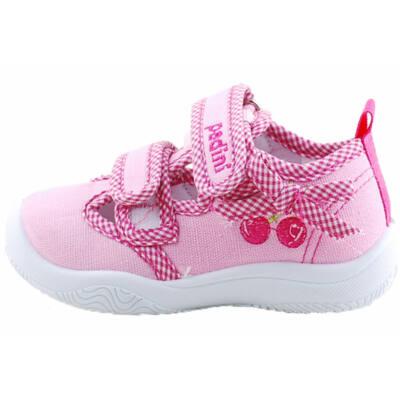Rózsaszín, masnis, cseresznyés, bőr betétes, nyitott, Padini vászoncipő