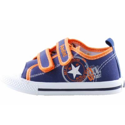 Kék-narancs, csillagos, bőr betétes, Padini vászoncipő
