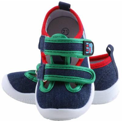 Kék-zöld-piros, kisautós, nyitott Padini vászoncipő
