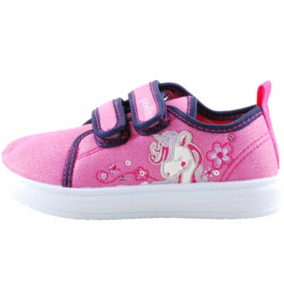 Csillogós rózsaszín, unikornisos, bőr betétes, Padini vászoncipő