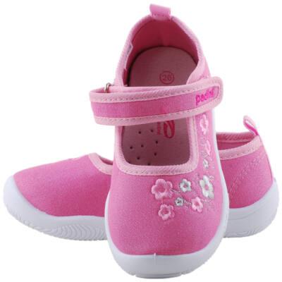 Csillogós rózsaszín, virágos, bőr betétes, Padini vászoncipő