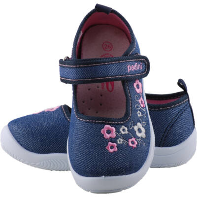 Csillogós kék, virágos, bőr betétes, Padini vászoncipő