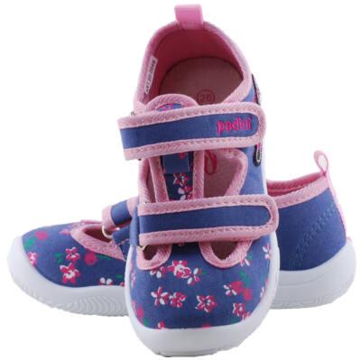 Kék-rózsaszín, virágmintás, nyitott, bőr betétes, Padini vászoncipő
