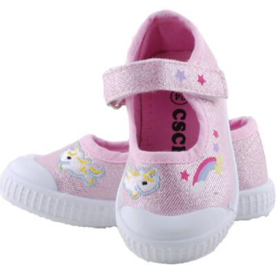 Csillogós rózsaszín unikornisos, szivárványos, balerina vászoncipő