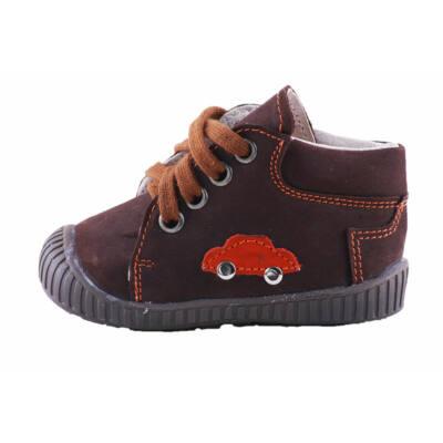 Maus középbarna-narancs autós, fűzős tanulócipő