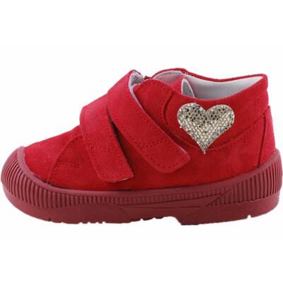 Piros, ezüst szívecskés, supinált Maus cipő