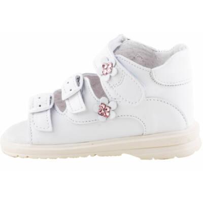 Fehér csillogó rózsaszín virágos, hajlékony talpú, Maus supinált szandál