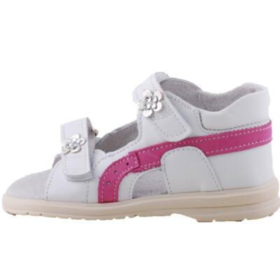 Fehér, pink, ezüst virágos, hajlékony talpú, Maus supinált szandál