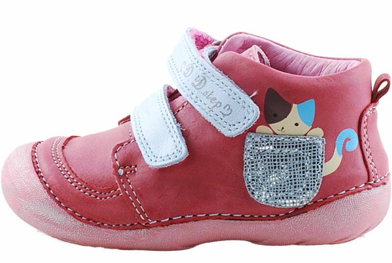 D.D.Step kislány cipő cicás, rózsaszín