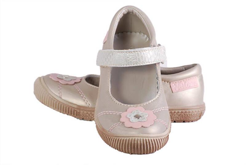 Falcon arany rózsaszín virágos pántos balerina cipő