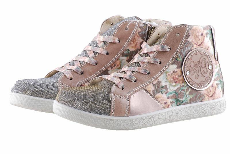 c923ac8c06 Primigi bézs-arany csillogós, vintage rózsás, cipzáras-fűzős cipő ...