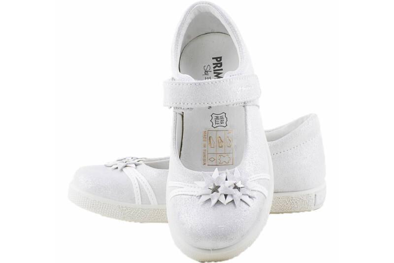 Ezüst, fehér virágos, Primigi, pántos balerina