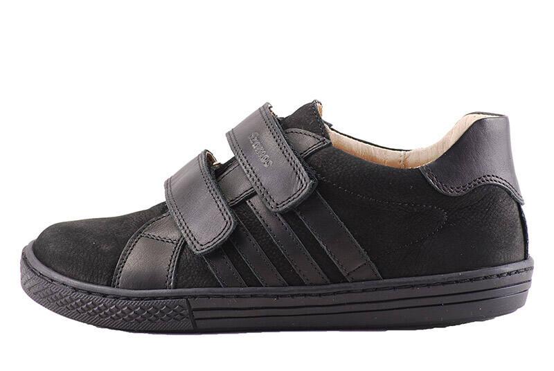 Szamos fekete, 2 tépőzáras, átmeneti bőr cipő Levendula